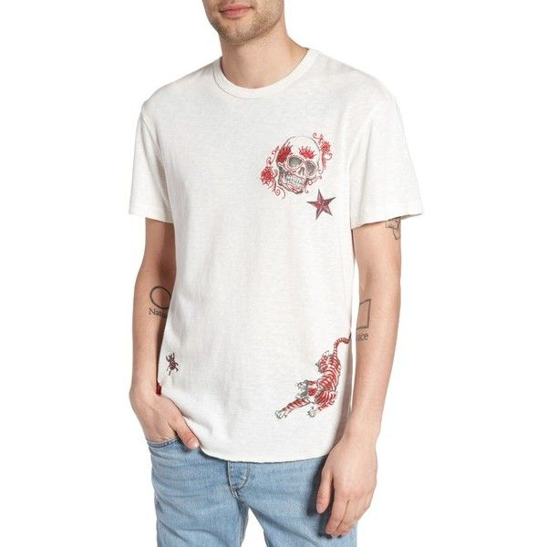 Men's True Religion Brand Jeans Shirttail Hem T-Shirt (€90) ❤ liked on Polyvore featuring men's fashion, men's clothing, men's shirts, men's t-shirts, optic white, mens t shirts, mens embroidered shirts and true religion mens shirts