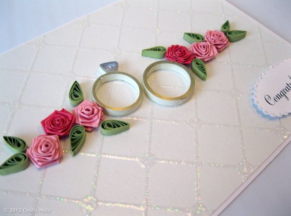 Paper Quilled Wedding Anniversary Rings Card