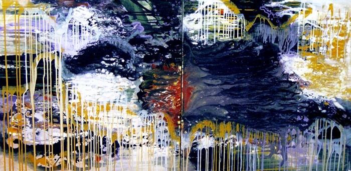 "Bianka Guna, Relative Reality:  acrylic on canvas • Two 30"" x 60"" panels"
