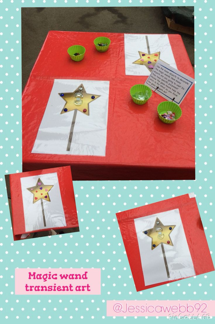 Transient art using loose parts and blank magic wands. EYFS