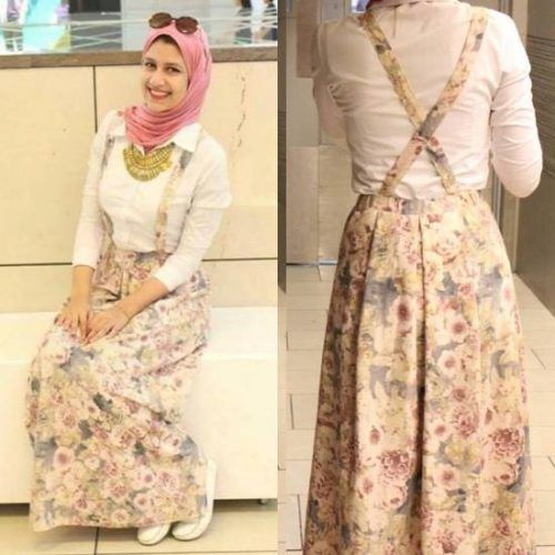 floral skirt with back straps- College Hijab Outfits by Egyptian Fashionista…