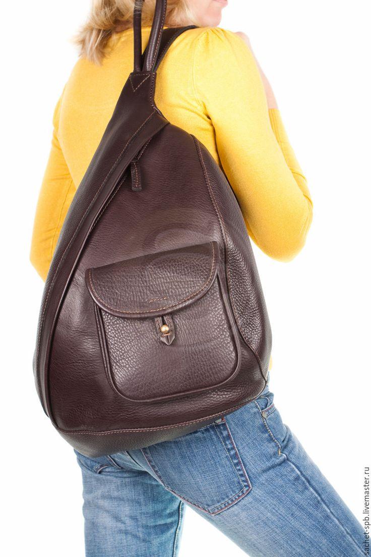 Купить или заказать Кожаный рюкзак 'Эль- Пасо' коричневый ( с карманом) в…