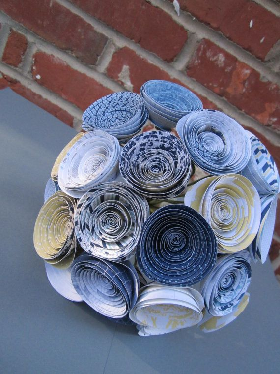 Blue and yellow paper roses beach wedding alternative