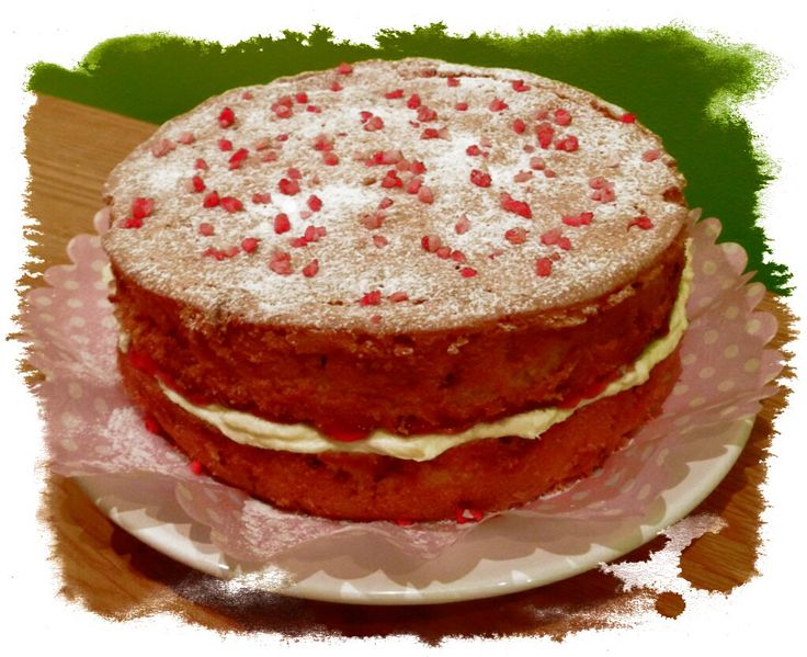 Victoria sponge, for the traditionalists (except it has strawberry pieces baked in it too).