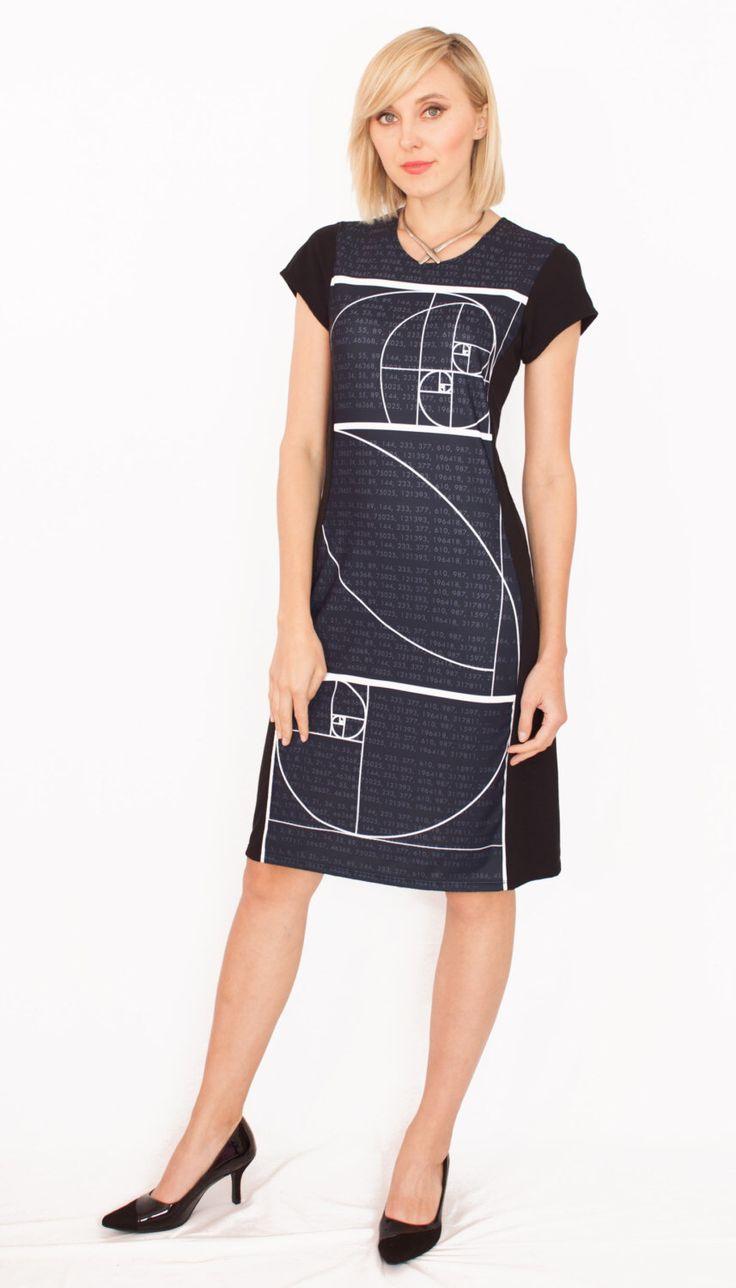 Fibonacci Sequence Dress - Sacred Geometry - Golden Ratio Dress - Math Teacher Gift - Mathematician Graduation Wear - Black STEM Dress by Shenova on Etsy https://www.etsy.com/listing/241604478/fibonacci-sequence-dress-sacred-geometry