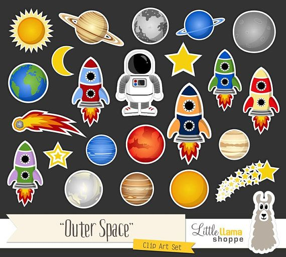 Space themed clip art including planets, rockets, astronaut, solar system, shooting stars, comet