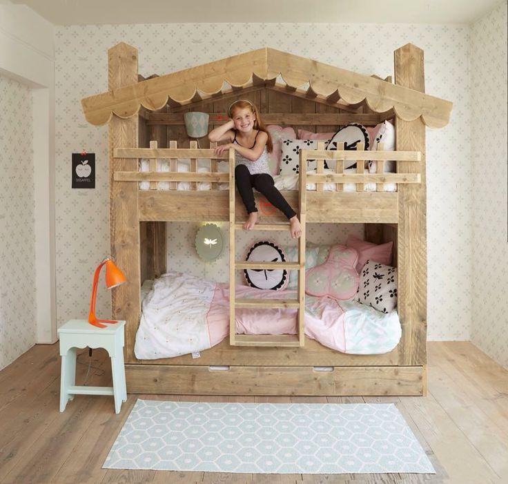 17 beste idee n over meisjes stapelbed op pinterest zus slaapkamer meisjes kamer gordijnen en - Stapelbed kleine kamer ...