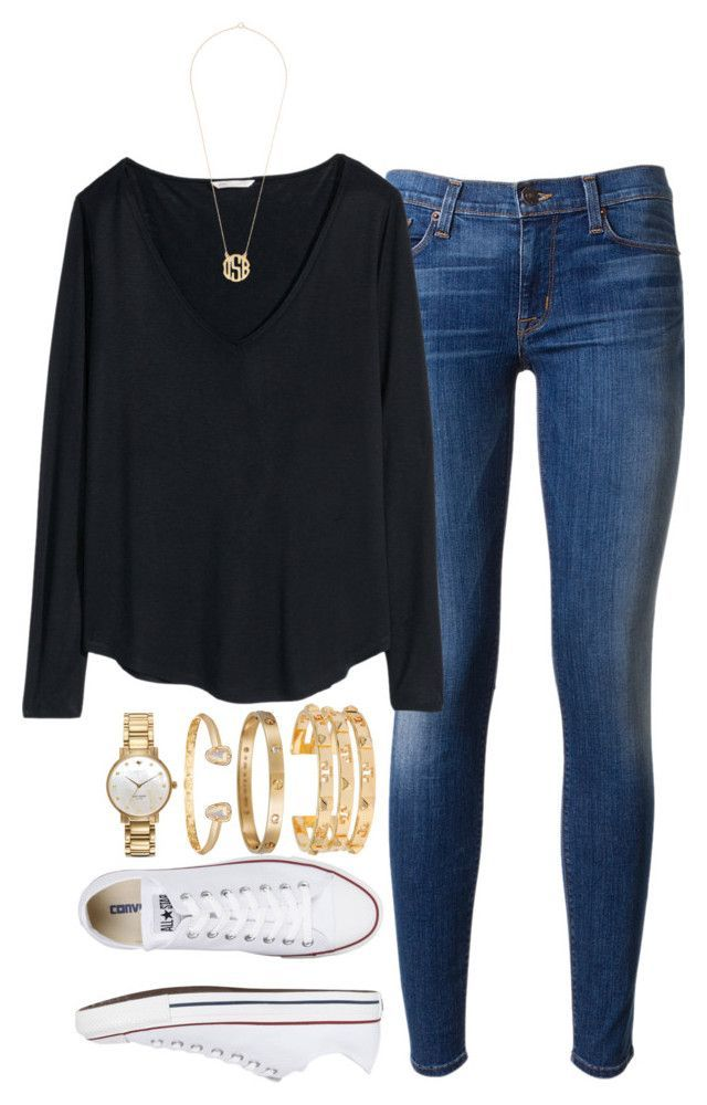 """today's ootd"" by tabooty ❤ liked on Polyvore featuring Hudson, H&M, Converse, Kate Spade, Kendra Scott, Cartier and Tory Burch"