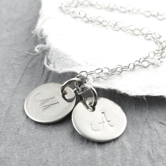 14k White Gold Double Initial Pendant by prolifiquejewelry on Etsy