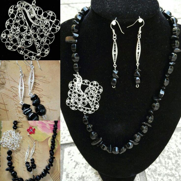 Set,ogrlica i naušnice Onix,srebro,filigran,ručni rad Set,nacklace&earrings,Onux&fine silver filigree,handmade