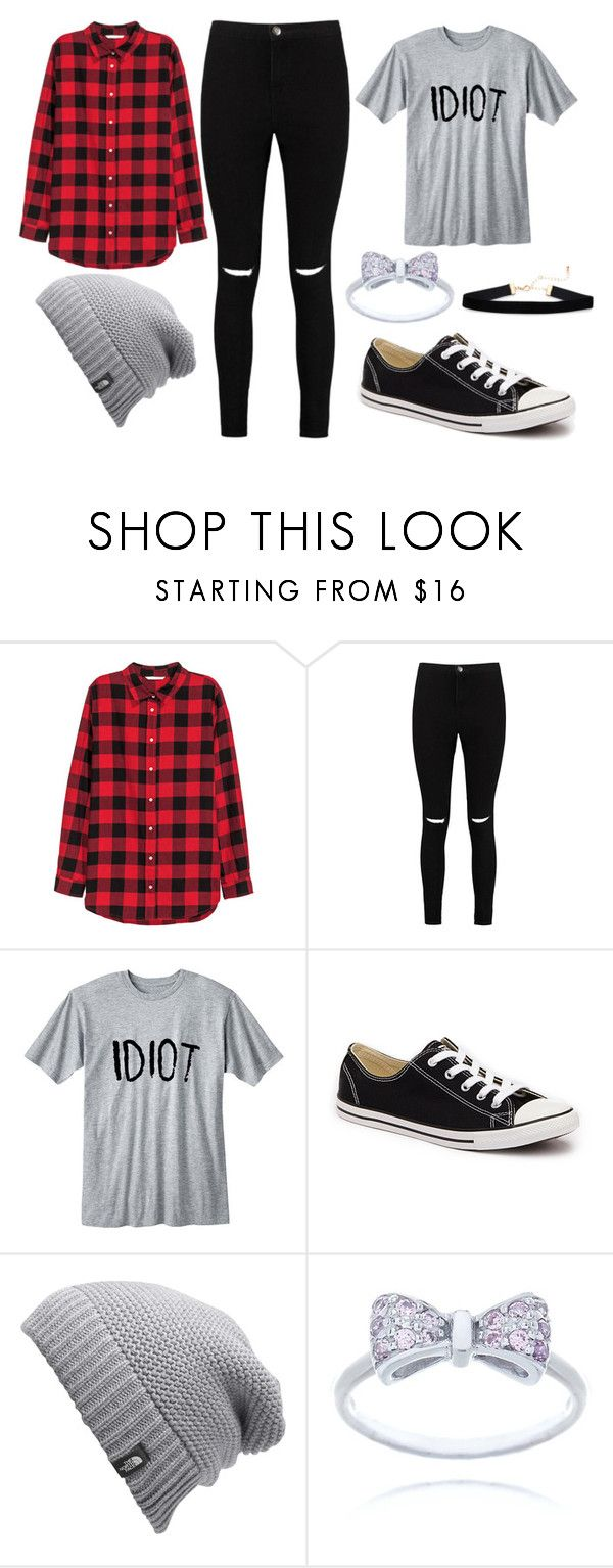 """""""Flannel and grey"""" by thisisalle on Polyvore featuring H&M, Boohoo, Converse and The North Face"""