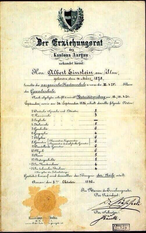 Boletín de calificaciones de Alber Einstein