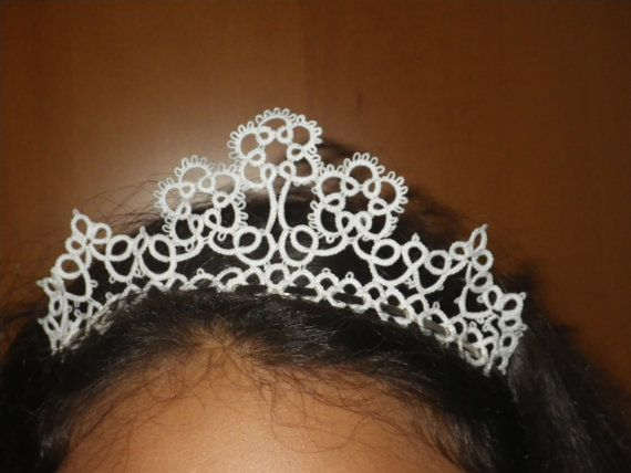 Tatted lace tiara headpiece for wedding prom by TattingByWendy