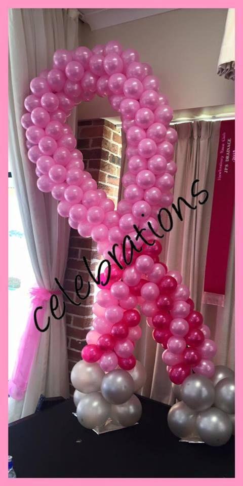 Pink Ribbon Balloon sculpture  #balloon #pinkribbon #decorations  #partysupplies