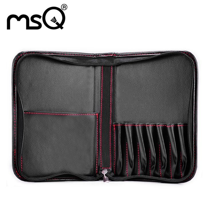 MSQ Stylish Black Makeup Bag High Quality PU Leather Make Up Case For Professional Makeup Artist Capacity 15pcs Brushes