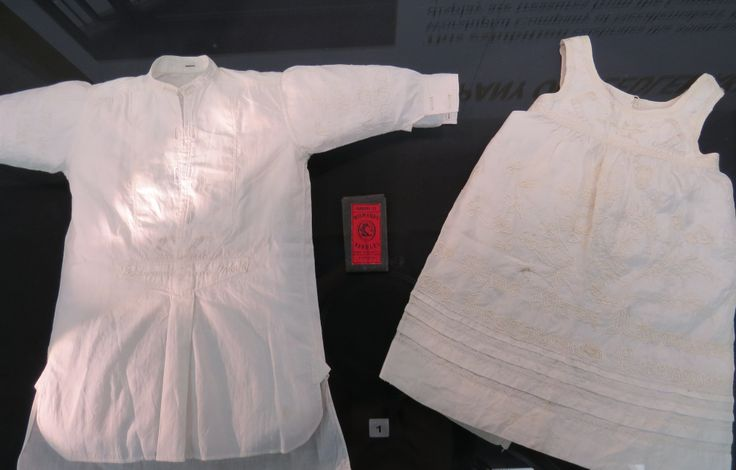 Small cotton garment and small silk garment c.1870s. On loan from Forge Mill Needle Museum. The Worshipful Company of Needlemakers. Exhibition at Guildhall Library, 20 January - 29 March 2014. Free admission, Monday-Saturday, 9.30am-5:00pm  http://www.cityoflondon.gov.uk/things-to-do/visiting-the-city/archives-and-city-history/guildhall-library/exhibitions/Pages/The-Worshipful-Company-of-Needlemakers.aspx