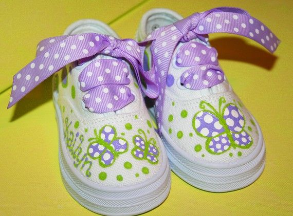 Girl's Custom Painted Tennis Shoes LAVENDER and GREEN by paintmama, $45.00