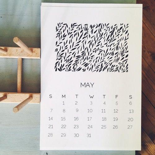 hand printed calendar 2017 botanical illustrated calendar A4 - modern botanics