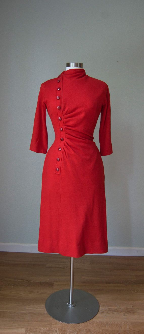 1950s Gigi Young Hot Tamale Wool Jersey Hourglass Dress with Shirred/Ruched Front Detail and Button Panel // As Is - Has Issues