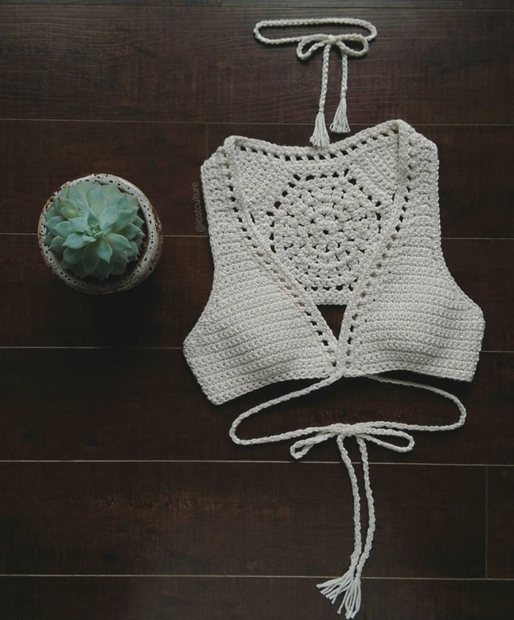 Summer Succulent Wrap Around Vest -Handmade, 100% cotton-Shown in Natural-Adjustable wrap around straps -Comes with choker