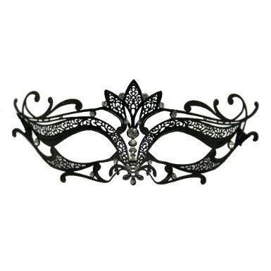 Amazon.com: Black Metal Venetian Mask With Gems: Toys & Games. Next time I am invited to a costume party or masquerade thing, I'm buying a laser cut mask because they are so pretty!