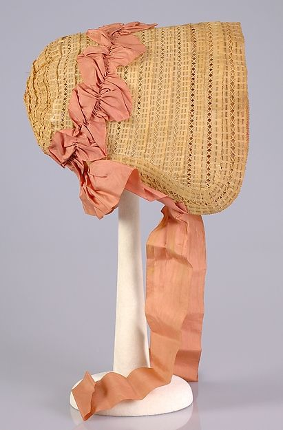 Poke bonnet1850 American straw, horsehair and silk