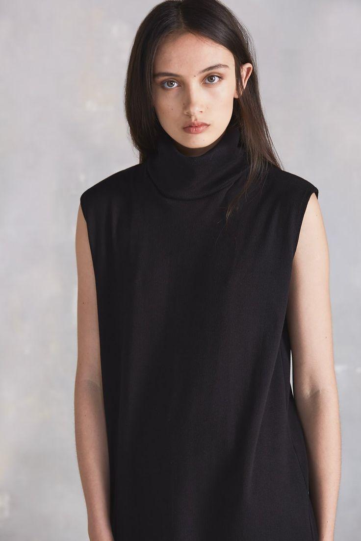 Building Block Rib Roll Neck Dress, Black