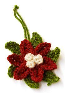 Crochet Poinsettia Ornament | AllFreeHolidayCrafts.com http://www.allfreeholidaycrafts.com/DIY-Christmas-Decorations/Crochet-Poinsettia-Ornament/ml/1/?utm_source=ppl-newsletter&utm_medium=email&utm_campaign=allfreeholidaycrafts20140927