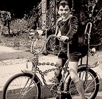 A rare photo of Butch Patrick posing for a publicity shot on the Chain Bike. Butch always hoped that the bike would be written into a Munste...