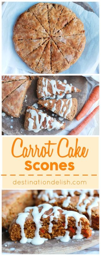 Carrot Cake Scones - enjoy all the lovely flavors of carrot cake in these lightened up scones drizzled with a decadent cream cheese glaze