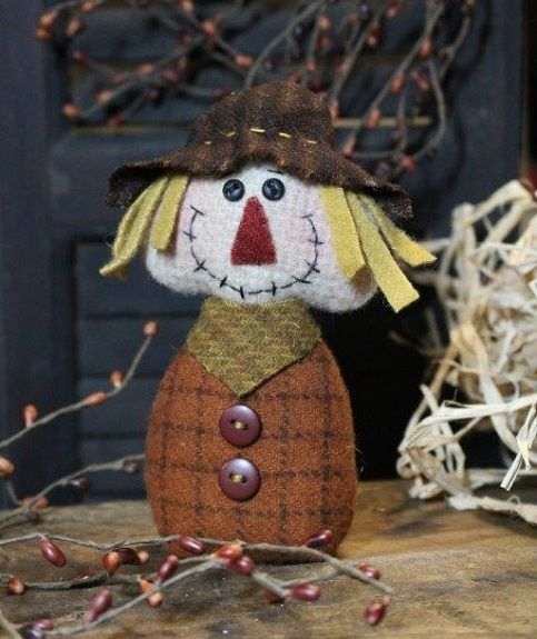 primtive cloth doll pattern pincushion scarecrow fall harvest