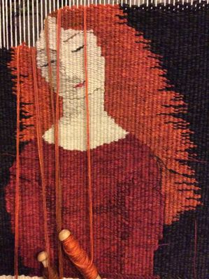 """Chrissie Freeth - woven on a traditional upright loom. """"My work is usually large scale and take months to weave. I use hand-dyed wool and a palette heavily influenced by the muted colours of the Yorkshire landscape."""""""