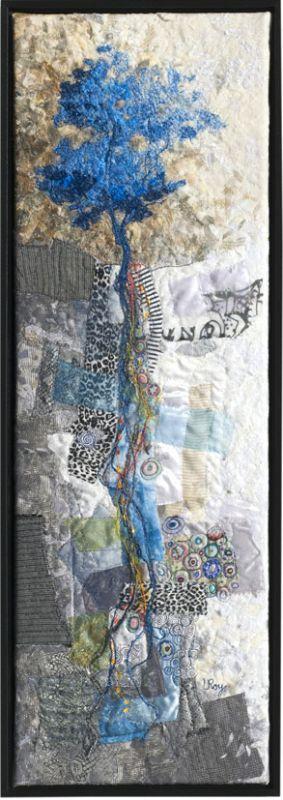 """""""Blue Roots"""". Textile art by Lorraine Roy."""