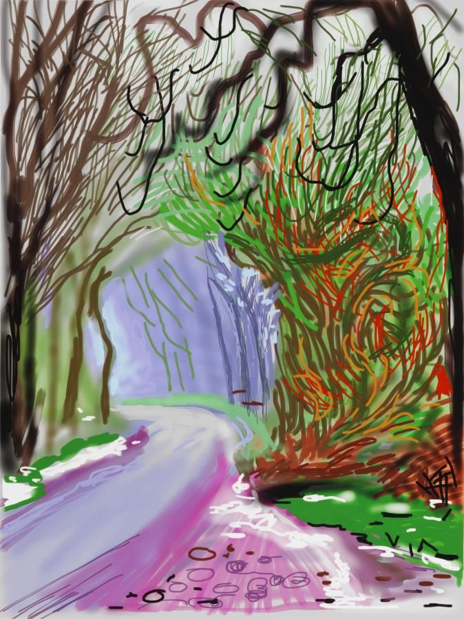 blastedheath:  David Hockney (British, b. 1937), The Arrival of Spring in Woldgate, East Yorkshire in 2011 - 1 January (2011). iPad drawing printed on paper, 139.7 x 105.4 cm. Edition of 25.