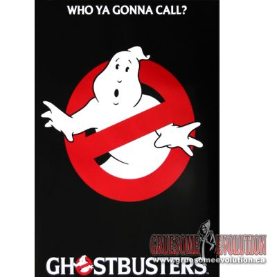 Color poster from the Ghostbusters live action movie featuring the no ghost logo, beneath the phrase,