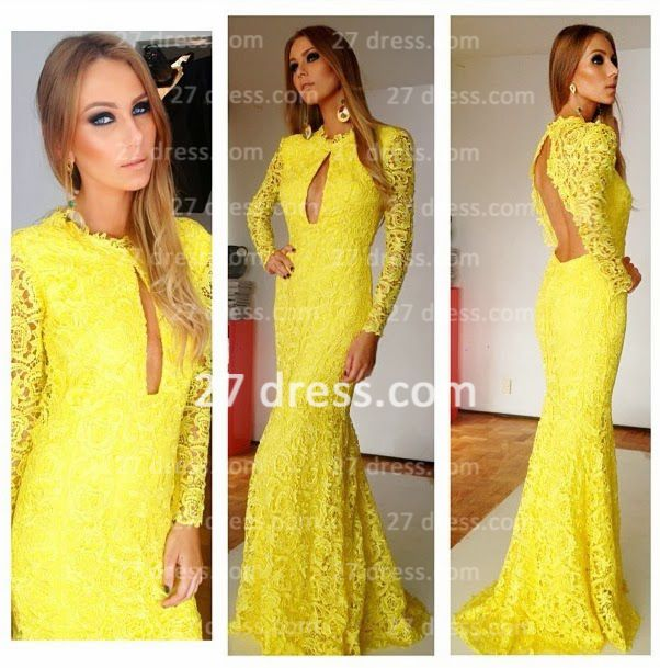 vestido de renda formales New Arrival Yellow High Collar Lace Mermaid Long Sleeves Open Back Evening Dresses Long BO3696a from 27dress.com