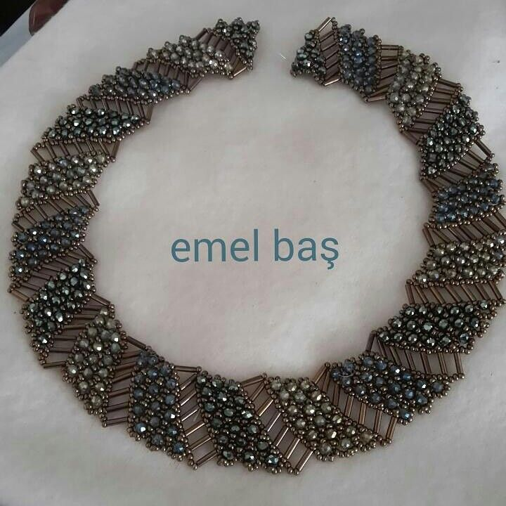 Netted necklace with buggle beads beaded by Emel Bas