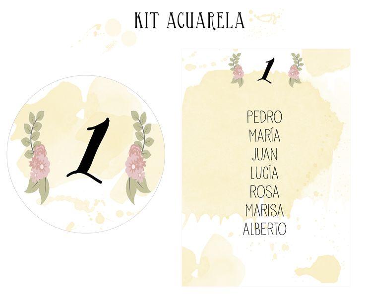 KIT ACUARELA  Dale un toque diferente a tu boda con el kit acuarela. Efecto acuarela y flores pintadas.  Incluye los números de mesa y el seatting.  Escribe a tienda@algomagico.com  También se realizan Kit completamente personalizados.