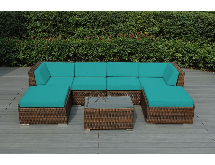 Spuncrylic Turquoise With Mixed Brown Wicker   Ohana Wicker Furniture   Outdoor  Patio Furniture Sets
