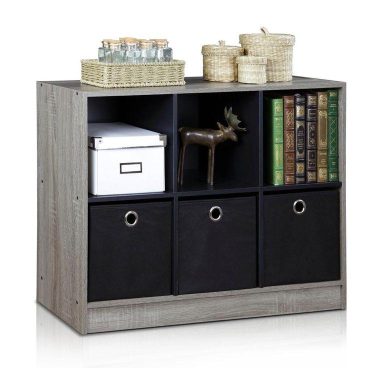 Basic French Oak Grey 6-Cube Bookcase with Storage Bins, French Oak Grey/Black