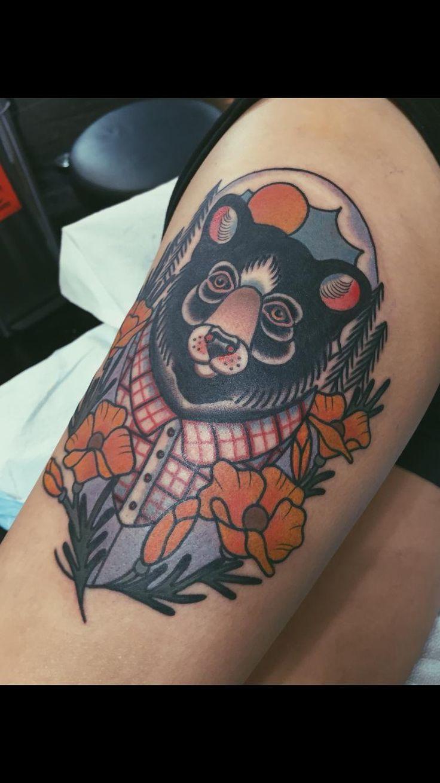 Yosemite Tribute Bear Tattoo by Allyson Bennett at Scapegoat in Portland Oregon