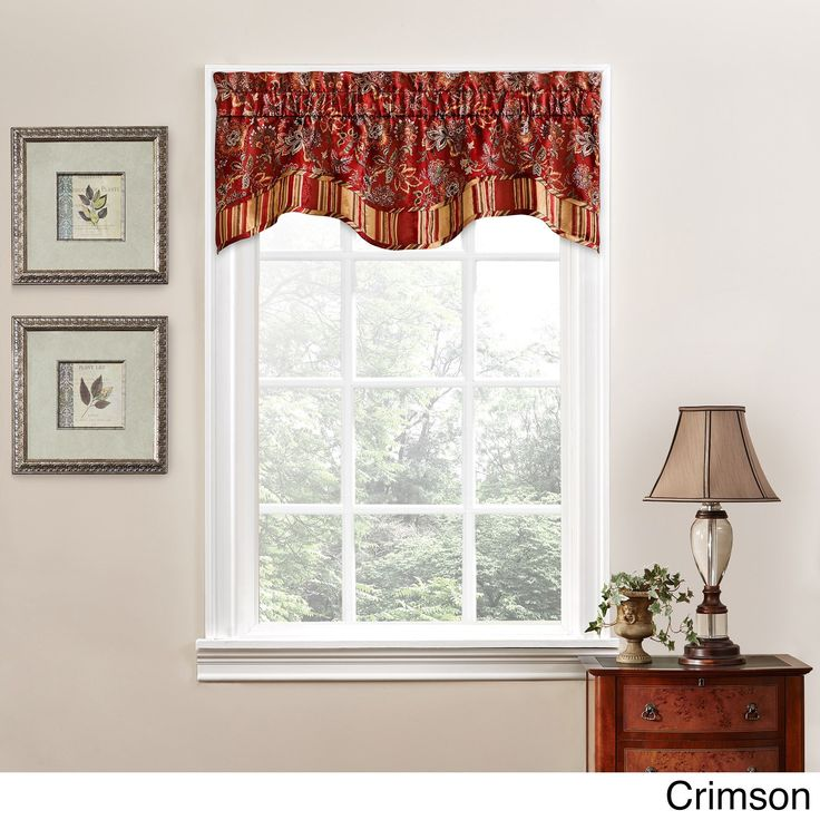 Traditions by Waverly Navarra Floral Window Valance (Crimson), Red (All Polyester)