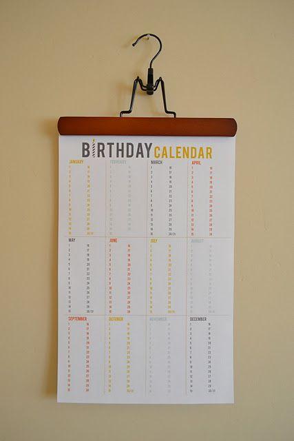 Birthday calendar printable: Printable Birthday, Idea, Calendar Printable, Craft, Birthday Calendar, Birthdays, Diy, Free Printables
