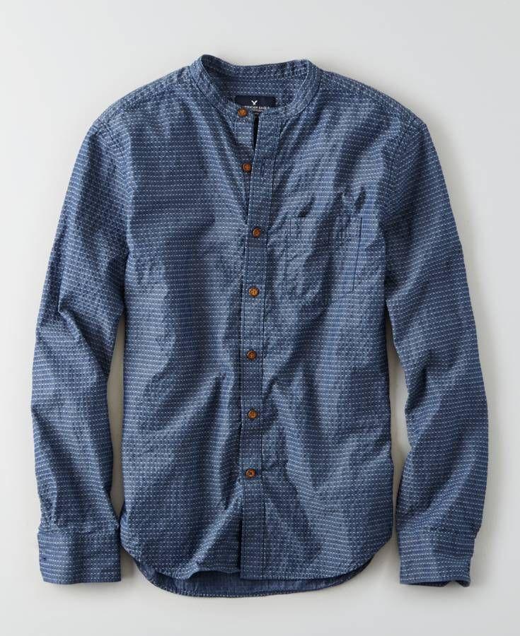 AEO Banded Collar Shirt, Men's, Blue