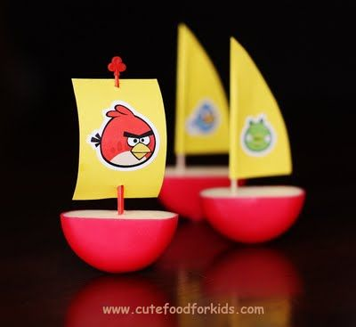 Angry Bird ships.  Could be cute as pirate ships for a boy's birthday party.