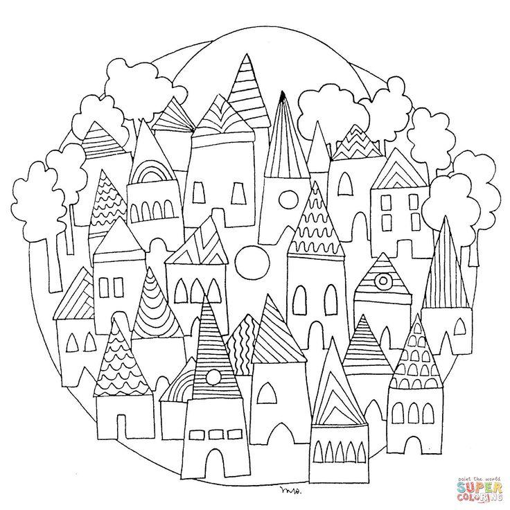 cityscape mandala coloring 1616 1616 mandala for kids pinterest. Black Bedroom Furniture Sets. Home Design Ideas