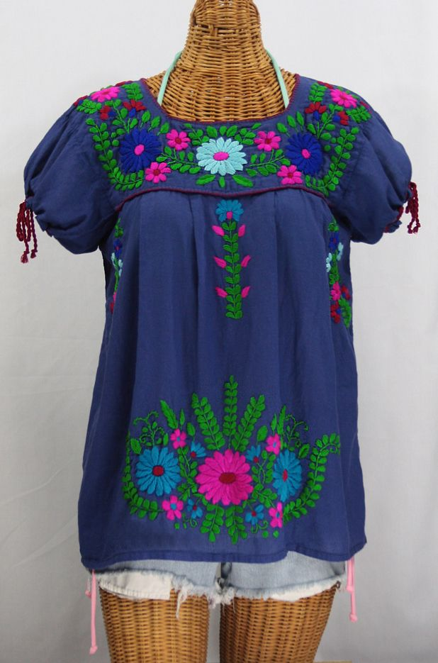 """La Poblana"" Puff-Tie Short Sleeve Embroidered Mexican Style Peasant Top - Royal Blue"