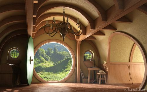 Interior, Hobbit House    If anyone would actually start building these they could make a fortune. I'll be first in line...