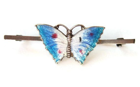 Vintage Art Deco enamel and silver butterfly bar brooch, guilloche enamel, 1930s brooch, 'c' catch, blue and white butterfly pin, https://www.etsy.com/inglenookery/listing/206267829/vintage-art-deco-enamel-and-silver