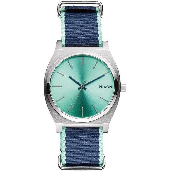 Nixon Women's A0452075 Time Teller Stainless Steel Watch with Navy... ($100) ❤ liked on Polyvore featuring jewelry, watches, multi color jewelry, nixon watches, tri color jewelry, colorful jewelry and mint green jewelry